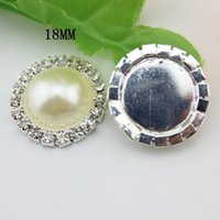 Wholesale 18mm flat back crystal pearl button Metal rhinestone buttons diamante button in Sliver DIY hair accessory