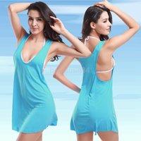 Cheap Women bikini cover up Best Swimdress Pure Colour 2014 fashion dress
