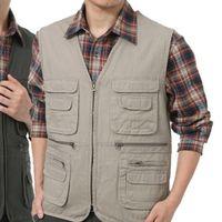 asian vest men - Fall New Style Men Autumn Outdoor Multi pocket Vest Casual Photographer Waistcoat Colors Asian Tag Size M XL