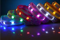 Wholesale LED Nylon Pet Dog Collar With Gemstone Night Safety LED Light up Flashing Glow in the Dark Lighted Dog Collars GL