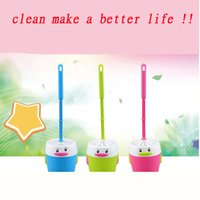 Wholesale 2015 Bathroom Tools cute penguin toilet brush Scrubber with holder set cleaning brush with base plate