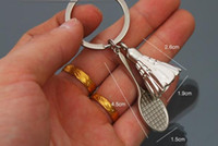 Wholesale Badminton And Badminton Racket Keychain Metal Keyring Key Chain High Quality