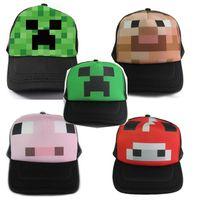 trucker hats - 2015 new Minecraft Creeper Mesh Caps Cartoon Trucker Caps Lorry Caps Men Adjustbale Hats colors