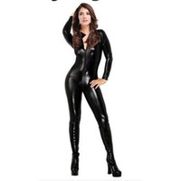 Wholesale 2015 new items Sexy Latex Catsuit Faux Leather Bodysuit Bodycon Jumpsuit Clubwear Leotard Fantasia Halloween Costumes For Women Cosplay