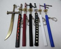 Wholesale Retail New version One piece zoro swords key chain zoro swords cm sword with free holder