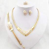Wholesale 24K Gold Plated Luxury Wedding Bridal Jewelry Sets Dubai Gold Woman Jewelry Set Necklace Earrings Bracelet Ring