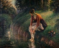 bathing oil paintings - Camille Pissarro decoration oil painting Young Woman Bathing Her Feet in a Brook famous artist reproduction