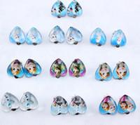 Wholesale FROZEN Elsa Anna Ear Clip Ear Cuff Children Girl glass Heart Shape Earrings Charm Earrings Charm jewelry gift earrings