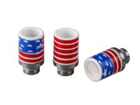 ceramic pieces - USA star flag Ceramic Mouth piece Drip Tip for rda tank America Flag Pattern drip tips with gift box
