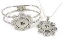 Wholesale New arrival cm hollow out flower metal press noosa button cuff bangle and snap bangle