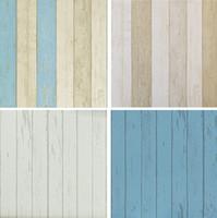 Wholesale Realistic Vingtage Wood Panel wallpaper retro wall paper Wood Wallpaper roll White Grey Blue