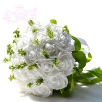 Wholesale 2016 Cheap Bridal Bouquet Hand Made Artificial Silk White Coral Red Purple Flowers Wedding Suppelies with Pearls Leaves