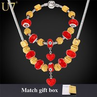 gold pan - DIY Bead Necklace Set New Platinum K Gold Plated Red Crystal Rhinestone European Necklace Bracelet PAN Jewelry Set S595