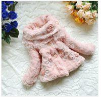 fur flower scarf - 2015 NEW Kids Girls faux fox fur coat pink fleece thick warm scarf collar jacket children baby Winter flowers outerwear Russian