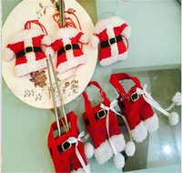 Wholesale Christmas Handmade Lovely Santa Dress Clothes Pants Shaped Cutlery Suit Silverware Holder Knives and Forks Pockets Set for Child Party