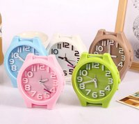Wholesale Fashion Solid Color Non Ticking Table Desk Alarm Clock Plastic for Boys Girls Teens Kids Black White Blue Red Pink Hot