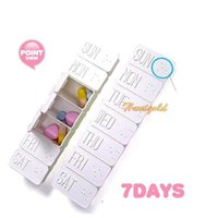 Plastic Bedding Eco Friendly White Innoxious 7 Days Weekly Medicine Pill Box Drug Storage Pillbox Holder Case