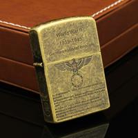 Wholesale 1601 ZORRO World War II bronze metal copper gasoline lighter Classic kerosene lighter cigarette lighter case