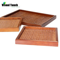 article rattan - Decorative Japanese Style Vane Rattan Plaited Articles Wood Frame Serving Trays Bamboo Tea Plate Sizes Square Rectangle