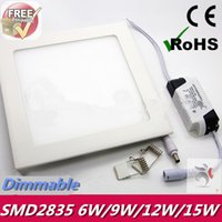 100lm/W >120° UL Free Shipping Ultra thin design 6W   9W   12W   15W LED Dimmable Ceiling Recessed Grid Downlight   Slim Square Panel Light