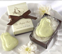 Wholesale 2015 Perfect Pair Pear Nest Scented Soap bowknot wedding festival party Decoration gift handmade soap Baby Shower BBA3349