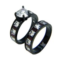 Wholesale White Heart Cubic Zirconia Black Engagement Ring Wedding Ring Set for Women Turkish Couple Ring o Jewelry Maxi Ring