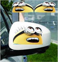 Wholesale 100pairs TOPB4150 D cartoon minions car Decal Stickers Despicable Me Auto rearview mirror sticker minions Reflective rearview stickers