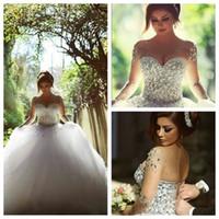 Acheter Mariage strass robe de cristal-2016 Mariage de luxe Robes perlé Strass Cristaux Belle robe de bal Image réelle Robes de mariée arabe Saïd Mhamad personnalisé Vestidos
