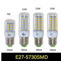 Wholesale 5X Ultra Bright SMD5730 E27 E14 LED lamp W W W W W V angle SMD LED Corn Bulb light Chandelier LED LED LED LED
