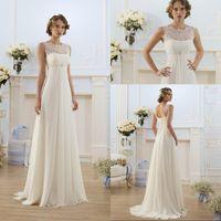 Wholesale Sexy Anna Campbell Lace Up Wedding Jewel Cheap Beach Plus Size Wedding Dresses Floor Length Ivory Chiffon Lace Vintage Wedding Dresses