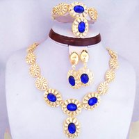 Wholesale Factory Direct Sale Good Quality Guarantee Blue Rhinestone Flower Jewelry Sets Fashion K Gold Plated Necklace Earrings Bracelet Ring Sets