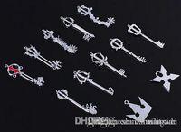 Wholesale Set Kingdom Hearts II KEY BLADE Necklace Pendant Keyblade Keychain Different Style Silver Key Blade Sora Keyblade Pendant B1