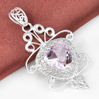 pink jewelry - High Quality Luckyshine Fire Heart Love Pink Topaz Gemstone Sterling Silver Butterfly Pendants USA Weddings Jewelry
