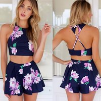 Wholesale Stylish Lady Sexy Women s Floral Printed Pants Set Casual Halter Off shoulder Backless Crop Tops and Shorts