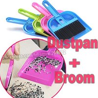 Wholesale 1 set Dustpan Broom Rhinestones Crystals loose pearls beads Carrier for Cleaning Tools Jewelry parts findings DIY tools work