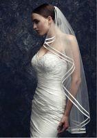 double ribbon - 2014 New Wedding Veil Fingertip Length Double Ribbon Edge Tulle Bridal Veil Wedding Accessories Hot Sale