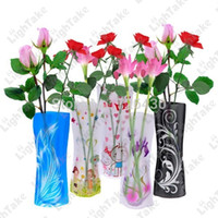 Wholesale 5 Fordable Flower Vases DIY PVC Beautiful Decorative Flower Bottle Pot For Homes Weddings Party Decoration Random Color