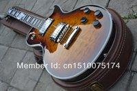 lp guitar - high quality Ebony Finger Board G LP Custom Desert Burst Brown Electric Guitar With CASE