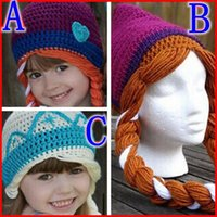 Wholesale 2015 girl crochet frozen hats kids girls baby handmade hat crochet knitting ELSA ANNA cap frozen winter hat in girls beanie hand knitted hat
