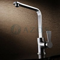 angle waterfall - Kitchen Basin Taps Square Swivel Hose Waterfall Spray Single Handle Brass Brushed Angled Heightening Deck Mounted Mixers Sets