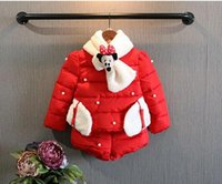 Wholesale New winter girl Cute plush mickey scarf twinset winter children girl padded jacket pant peice