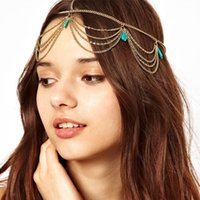 Wholesale Turquoise Hair Jewelry Headband Bohemia Gold Chain Hair Accessories Hot Sale Bridal Forehead Jewelry Elegant Party Accessories