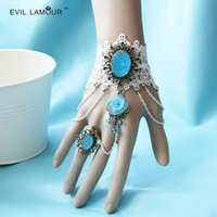 Wholesale Distinctive Rhinestone Embellished Lace Bridal Gloves With Ring Chain