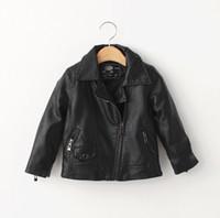 Wholesale Short Leather Lined Black Coat - Children Leather 2015 Winter Hot Sale Korean Style Kids Short Jacket High Quality Girls Boys Leisure Coat With Diagonal Zipper 8pcs lot T928