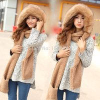 winter hat scarf and glove set - Fashion Hot Double layer plush thickening thermal piece set autumn and winter female scarf hat gloves one piece
