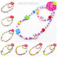Wholesale Chinden Jewelry Set Gril Mixed Color WOOD BEADS Necklace And Bracelets