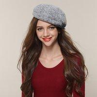 airlines military - New women Beret wool hat all match winter hat elegant Korean airline stewardess cap Korean cap
