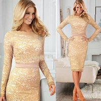belted tunic dress - New Women s Celebrity Elegant Belted Crochet Lace Tunic Long Sleeve Cocktail Party OL Bodycon Mid long Sheath Pencil Dress