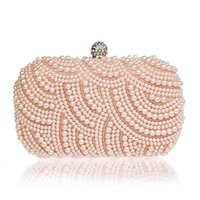 Wholesale 2015 New Fashion Elegant Women Single Side Beaded Lady Cultch Pearl Evening Bag Gorgeous Bridal Wedding Purse Party Handbag With Chains
