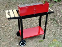 bbq wheels - Heavy duty bbq double wheels double layer wood to BBQ grill charcoal spices solid wood rack